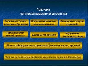 Признаки установки взрывного устройства Бесхозные сумки, пакеты и др. вещи То