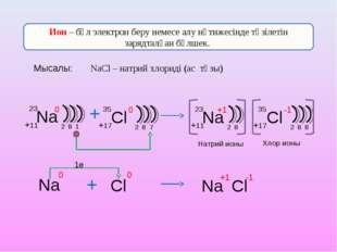 Ион – бұл электрон беру немесе алу нәтижесінде түзілетін зарядталған бөлшек.