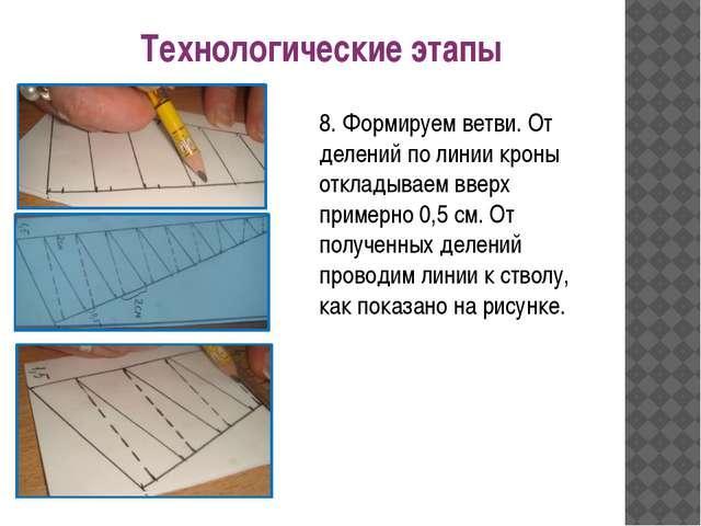 Технологические этапы 8. Формируем ветви. От делений по линии кроны откладыва...