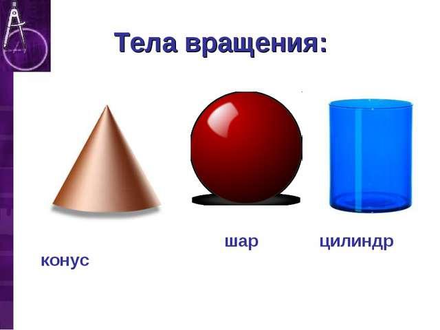 Тела вращения: шар конус цилиндр