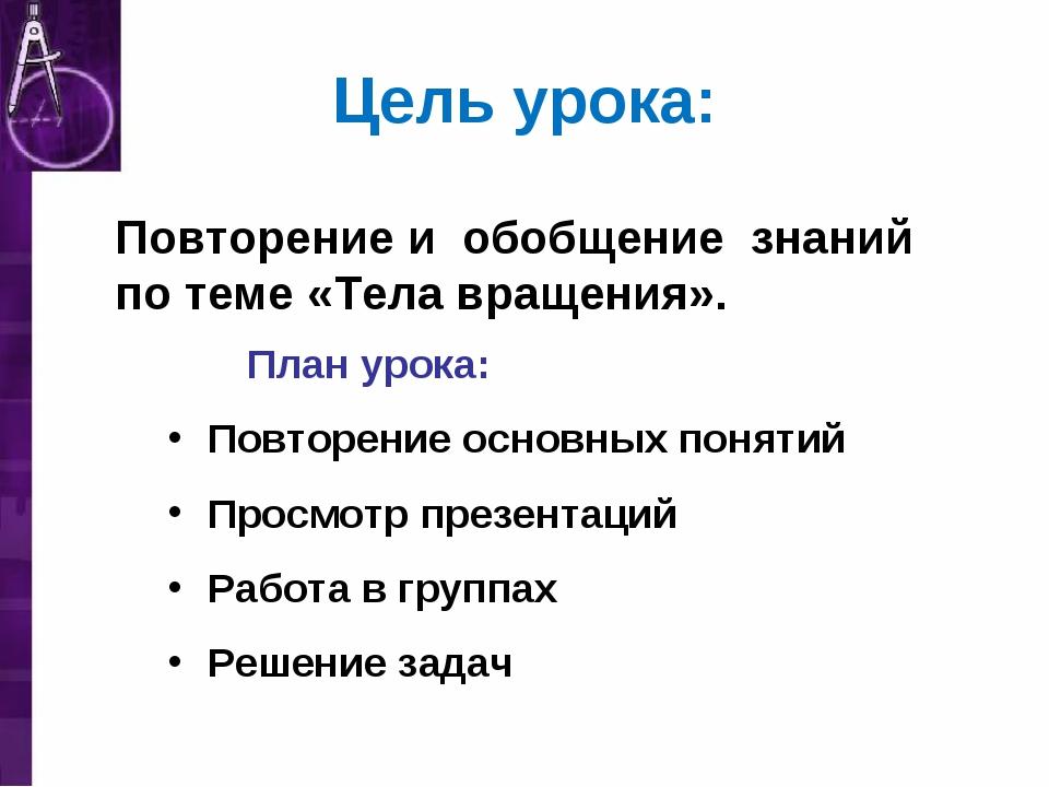 Цель урока: План урока: Повторение основных понятий Просмотр презентаций Рабо...