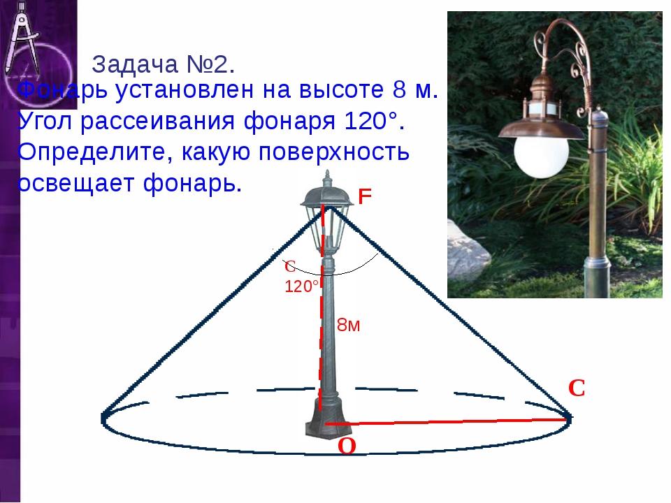 F Фонарь установлен на высоте 8 м. Угол рассеивания фонаря 120°. Определите,...