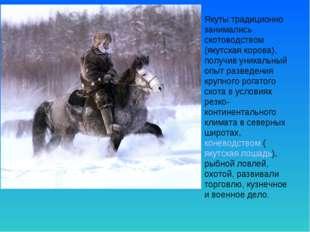 Якуты традиционно занимались скотоводством (якутская корова), получив уникаль
