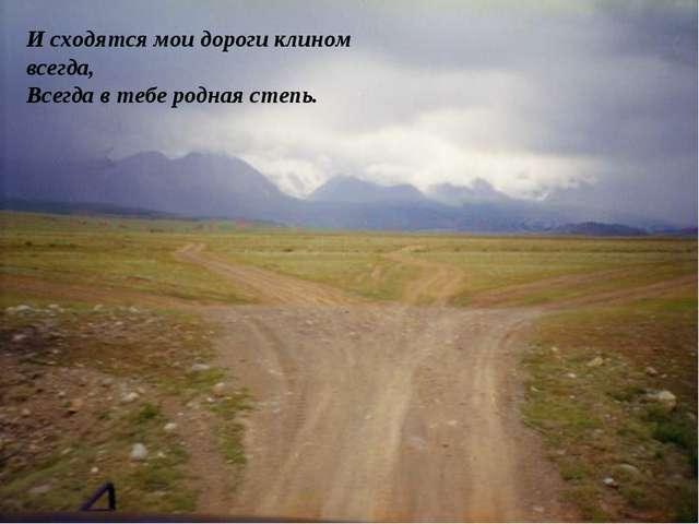И сходятся мои дороги клином всегда, Всегда в тебе родная степь.