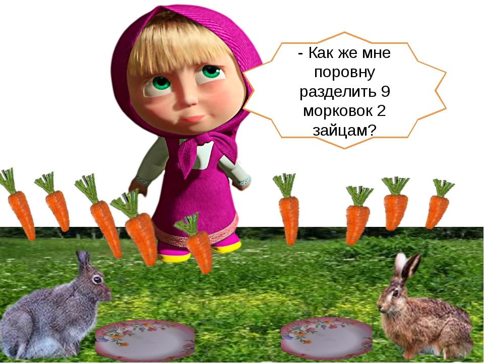 - Как же мне поровну разделить 9 морковок 2 зайцам?