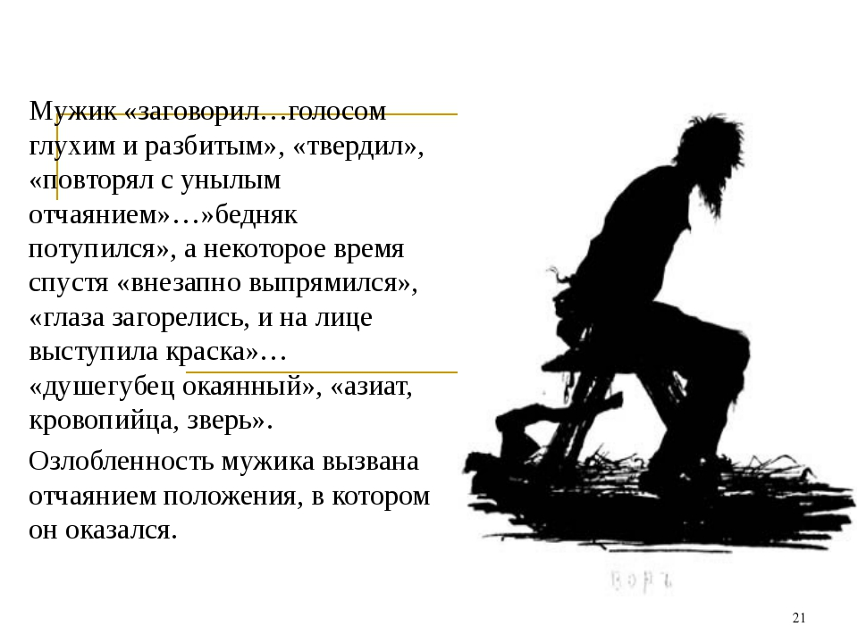 Мужик «заговорил…голосом глухим и разбитым», «твердил», «повторял с унылым от...