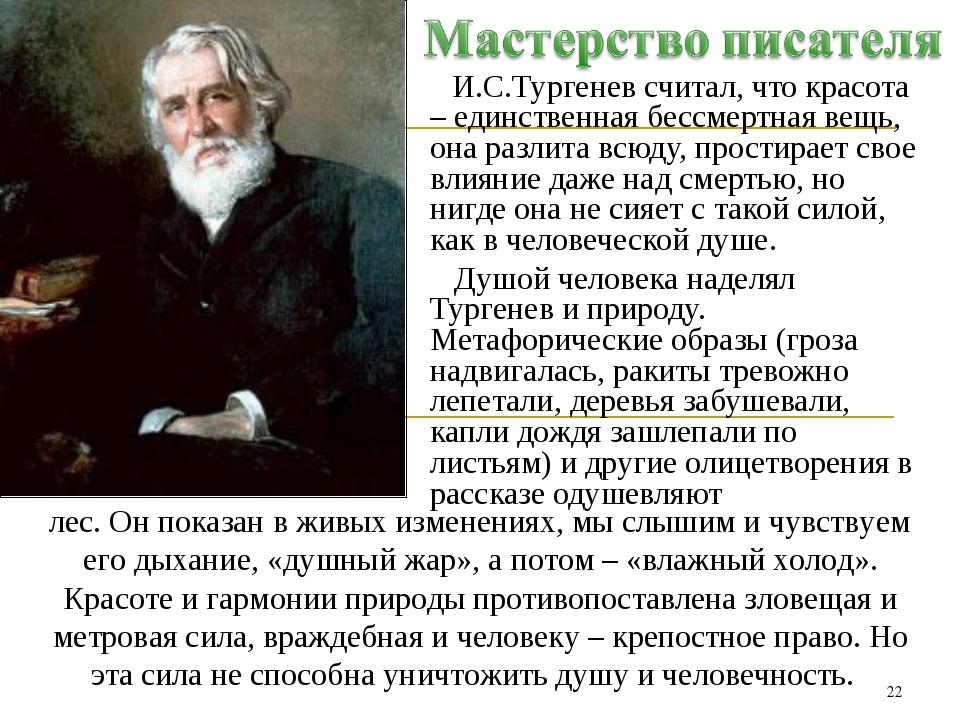 И.С.Тургенев считал, что красота – единственная бессмертная вещь, она разлит...