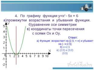 По графику функции у=х2 - 5х + 6 а)промежутки возрастания и убывания функции.