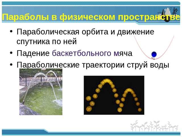 Параболы в физическом пространстве Параболическая орбита и движение спутника...