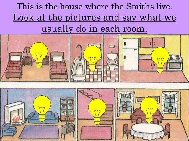 This is the house where the Smiths live. Look at the pictures and say what we...
