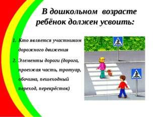 В дошкольном возрасте ребёнок должен усвоить: Кто является участником дорожно