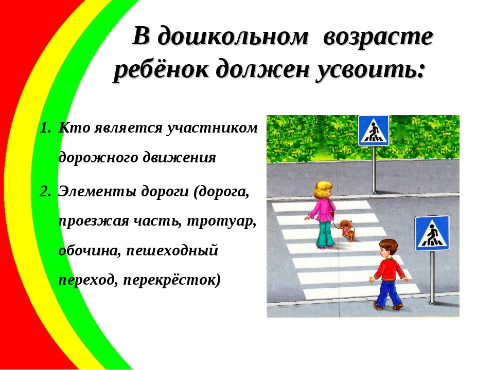 В дошкольном возрасте ребёнок должен усвоить: Кто является участником дорожно...