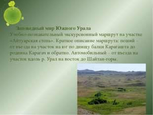 Заповедный мир Южного Урала Учебно-познавательный экскурсионный маршрут на у