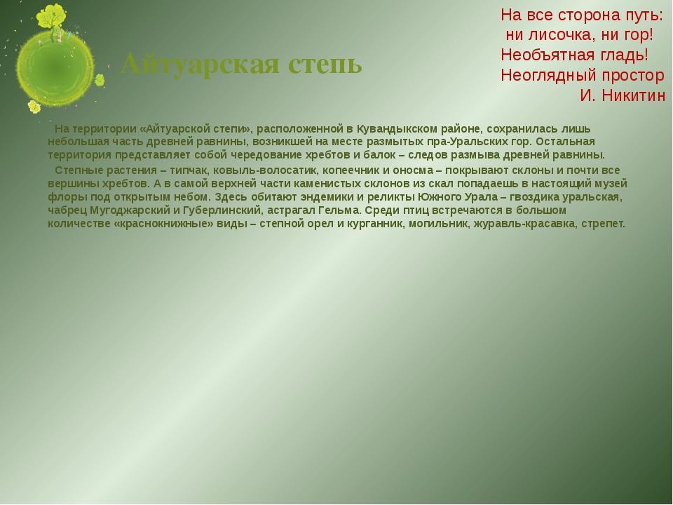 Айтуарская степь На территории «Айтуарской степи», расположенной в Кувандыкск...