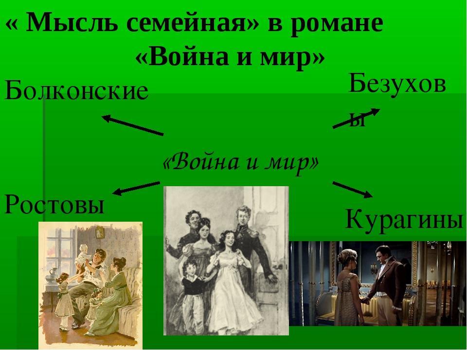 Семья ростовых и семья болконских в романе лнтолстого война и мир