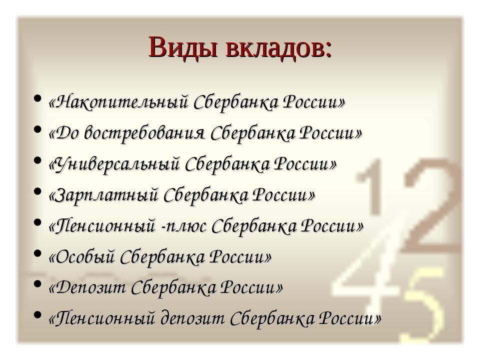 Виды вкладов: «Накопительный Сбербанка России» «До востребования Сбербанка Ро...