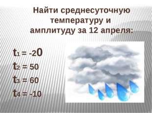 Найти среднесуточную температуру и амплитуду за 12 апреля: t1 = -20 t2 = 50 t