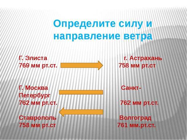 Определите силу и направление ветра Г. Элиста г. Астрахань 769 мм рт.ст. 758...