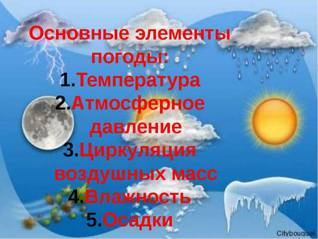 Основные элементы погоды: Температура Атмосферное давление Циркуляция воздушн...