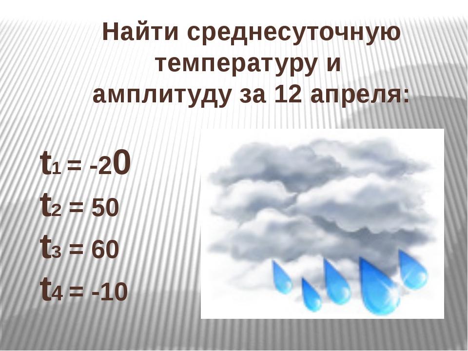 Найти среднесуточную температуру и амплитуду за 12 апреля: t1 = -20 t2 = 50 t...