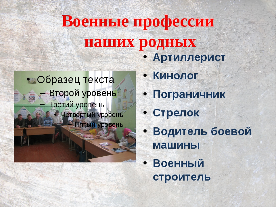 Военные профессии наших родных Артиллерист Кинолог Пограничник Стрелок Водите...