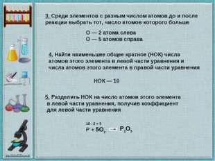 3.Среди элементов с разным числом атомов до и после реакции выбрать тот, чис