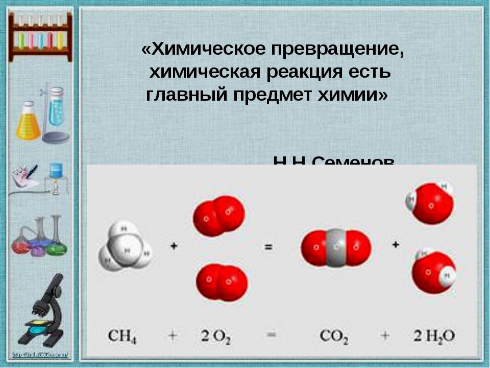 «Химическое превращение, химическая реакция есть главный предмет химии» Н.Н....