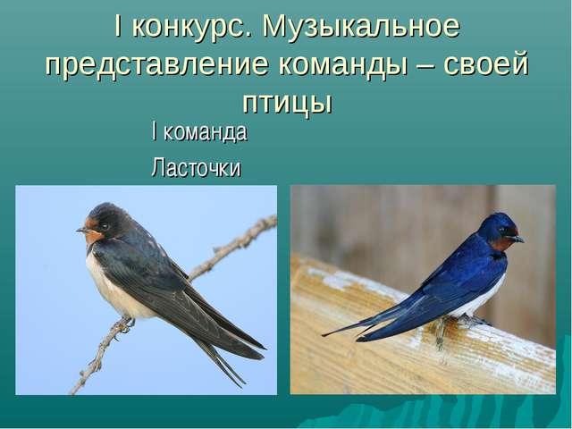 I конкурс. Музыкальное представление команды – своей птицы I команда Ласточки