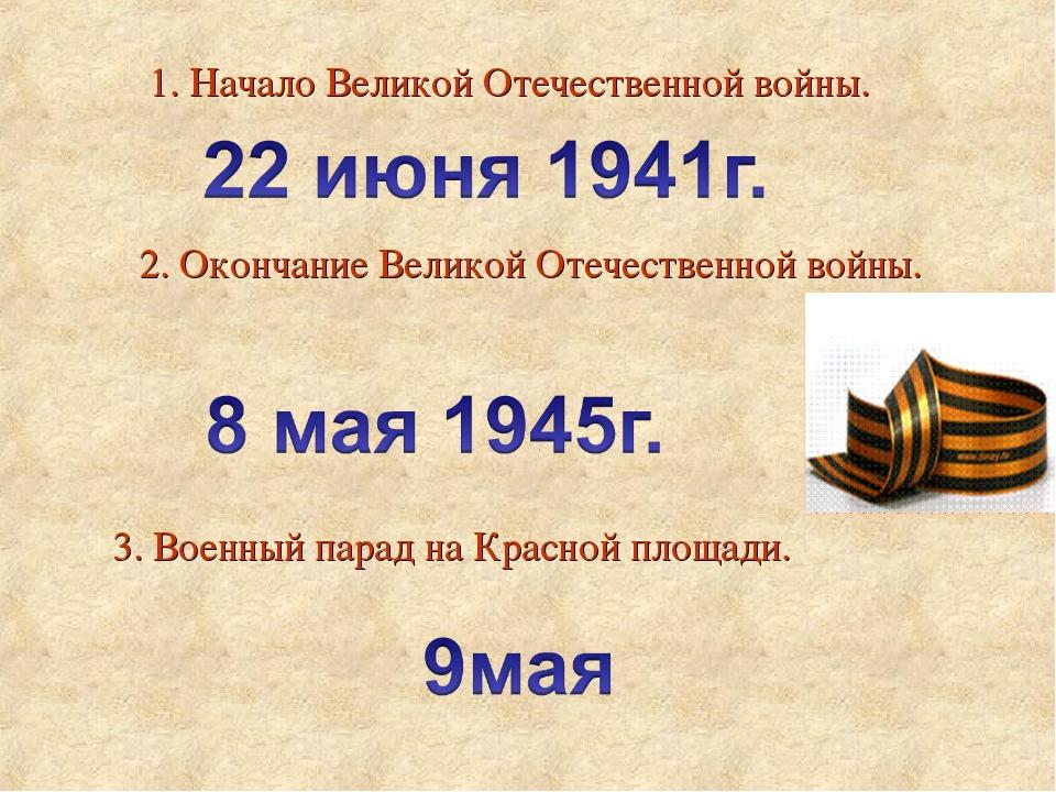 1. Начало Великой Отечественной войны. 2. Окончание Великой Отечественной вой...