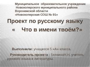 Муниципальное образовательное учреждение Новохоперского муниципального района