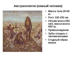 Австралопитек (южный человек) Масса тела 20-50 кг. Рост 120-150 см. Объём моз