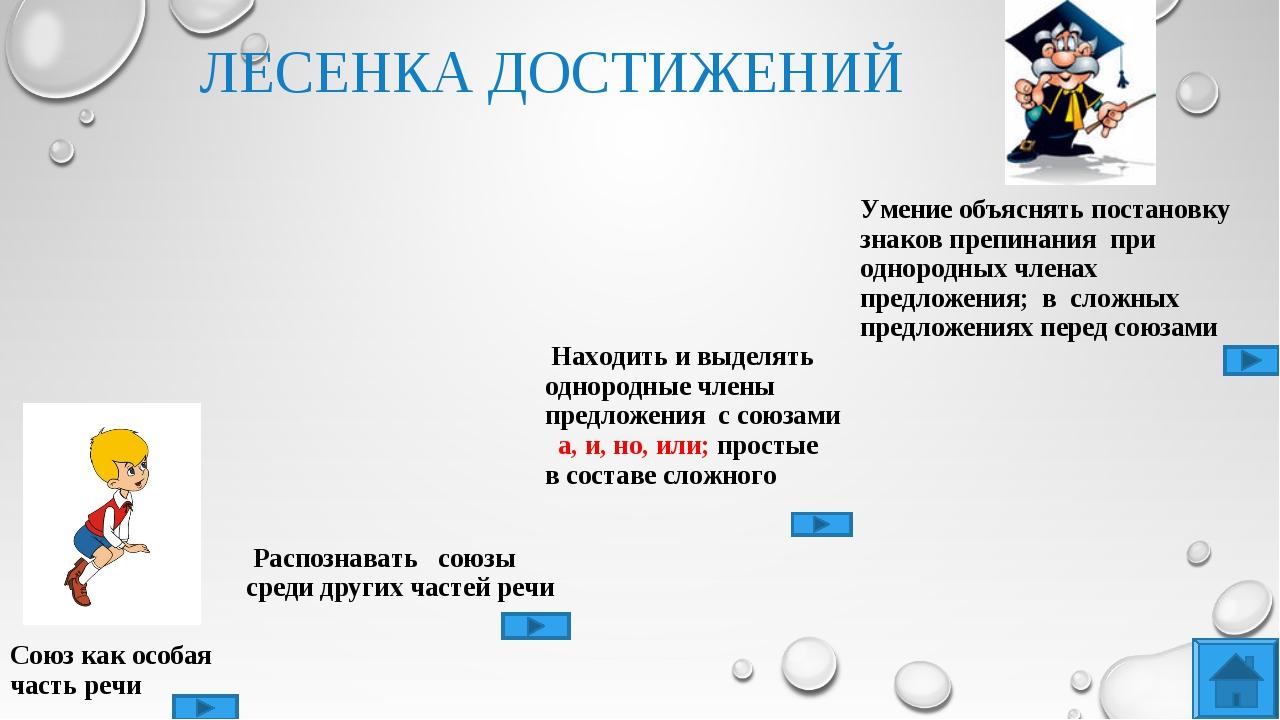 ЛЕСЕНКА ДОСТИЖЕНИЙ Союз как особая часть речи Распознавать союзы среди други...