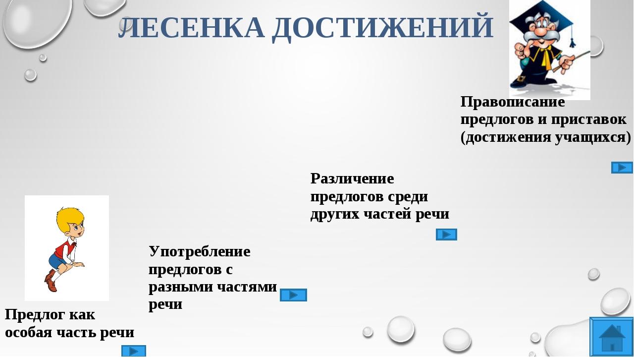 ЛЕСЕНКА ДОСТИЖЕНИЙ Предлог как особая часть речи Употребление предлогов с раз...