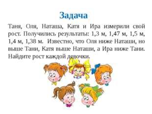 Задача Таня, Оля, Наташа, Катя и Ира измерили свой рост. Получились результат