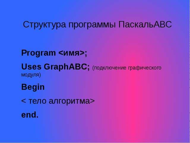 Структура программы ПаскальАВС Program ; Uses GraphABC; (подключение графичес...