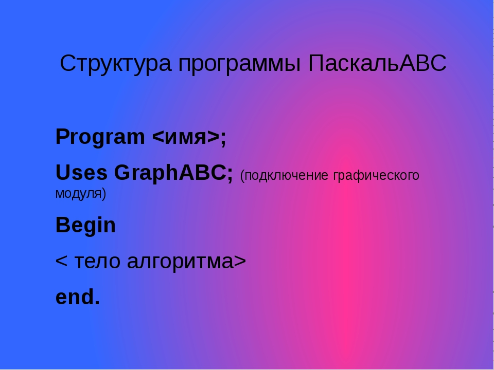 Структура программы ПаскальАВС Program ; Uses GraphABC; (подключение графичес...