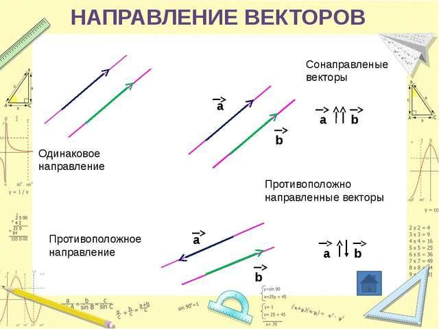 Укажите пары коллинеарных (сонаправленных) векторов, которые определяются ст...