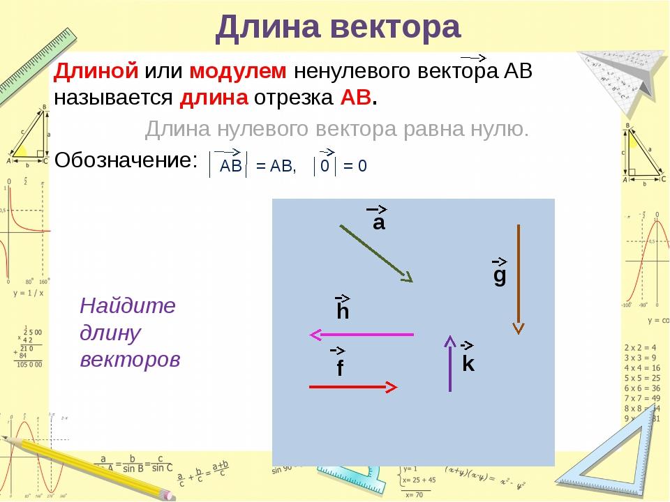 НАПРАВЛЕНИЕ ВЕКТОРОВ Одинаковое направление Противоположное направление Сонап...