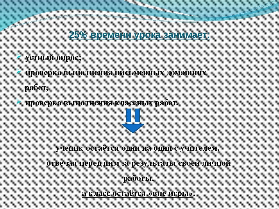 25% времени урока занимает: устный опрос; проверка выполнения письменных дома...