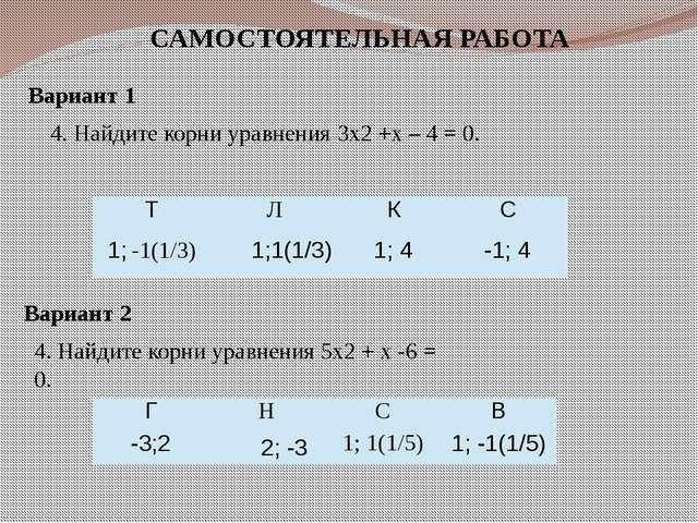 САМОСТОЯТЕЛЬНАЯ РАБОТА Вариант 1 4. Найдите корни уравнения 3x2 +x – 4 = 0. В...