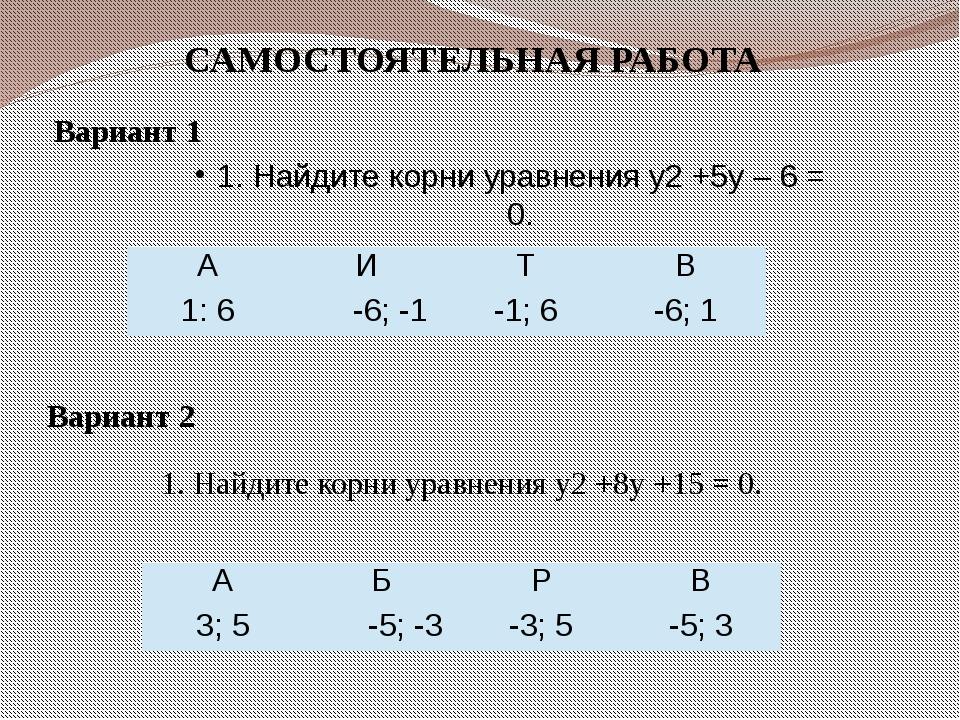 1. Найдите корни уравнения y2 +5y – 6 = 0. 1. Найдите корни уравнения y2 +8y...