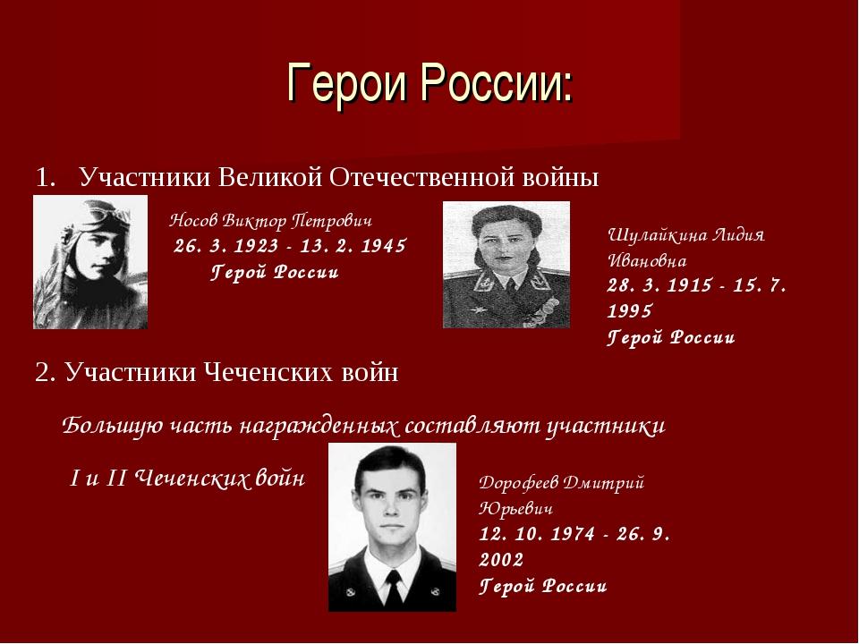 Герои России: Участники Великой Отечественной войны НосовВиктор Петрович 26....