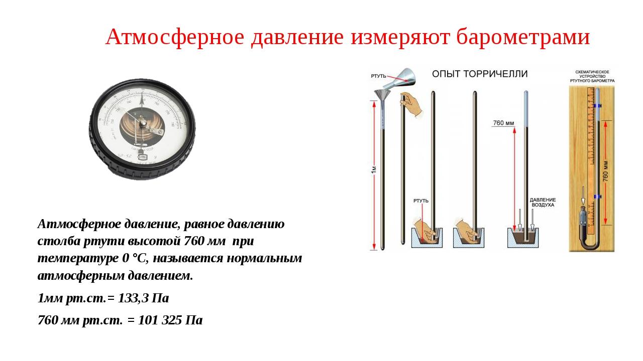 Атмосферное давление измеряют барометрами Атмосферное давление, равное давлен...