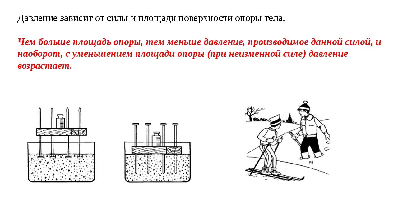 Давление зависит от силы и площади поверхности опоры тела. Чем больше площадь...