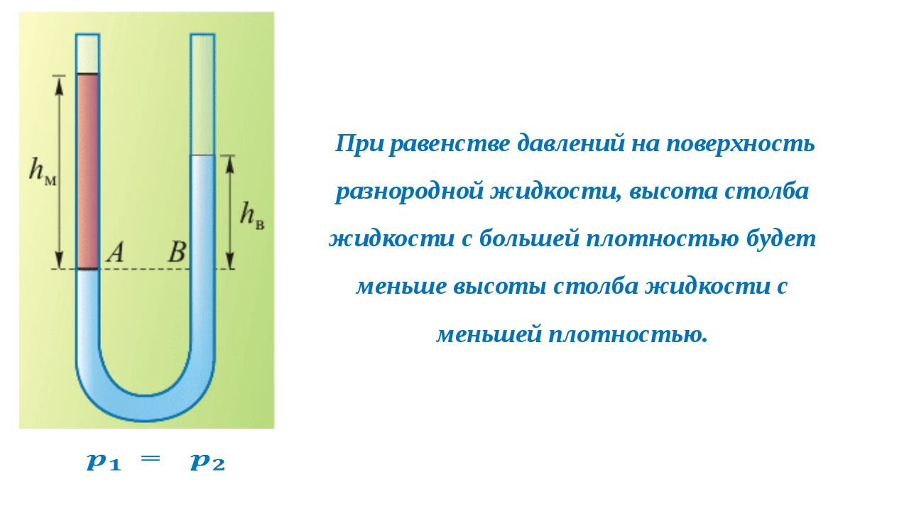 При равенстве давлений на поверхность разнородной жидкости, высота столба жи...