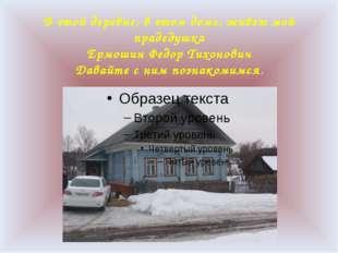В этой деревне, в этом доме, живет мой прадедушка Ермошин Федор Тихонович Дав