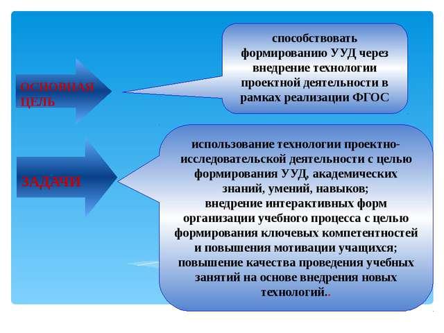 способствовать формированию УУД через внедрение технологии проектной деятельн...