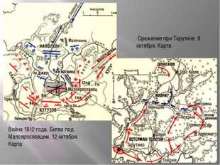 Война 1812 года. Битва под Малоярославцем. 12 октября. Карта Сражение при Тар