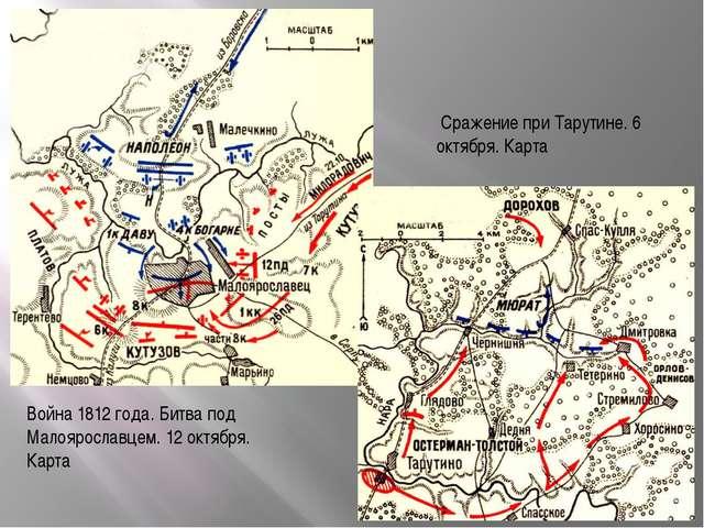 Война 1812 года. Битва под Малоярославцем. 12 октября. Карта Сражение при Тар...