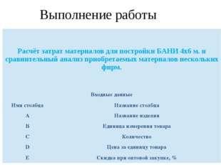Выполнение работы Расчёт затрат материалов для постройки БАНИ 4х6 м. и сравни